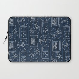 Music Lover Listening Cassette Record CD Tile Blue Geometric Laptop Sleeve