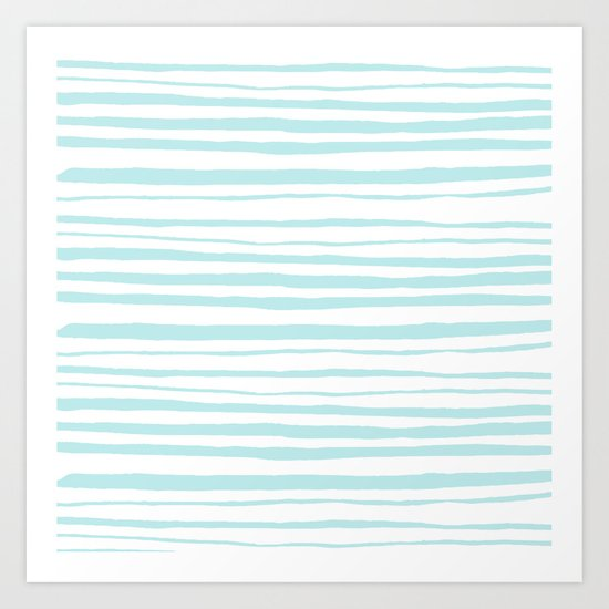 Handmade aqua turquoise Stripes on white - Maritime pattern Art Print