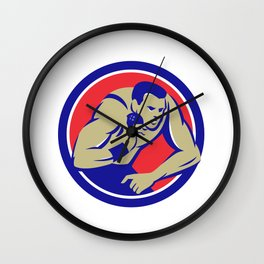 Shot Put Track and Field Athlete Circle Retro Wall Clock