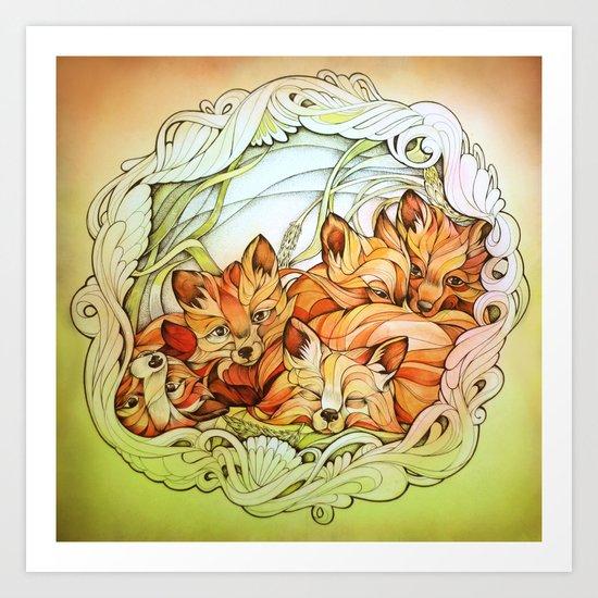 Foxes III Art Print