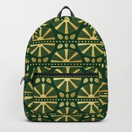 Emerald & Gold Art Deco Fan Backpack
