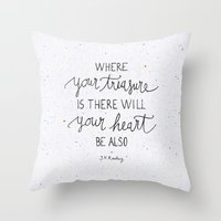 snape Throw Pillows featuring Where your treasure is, there will your heart be also by Earthlightened