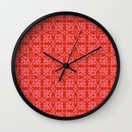 Ethnic tile pattern pink Wall Clock