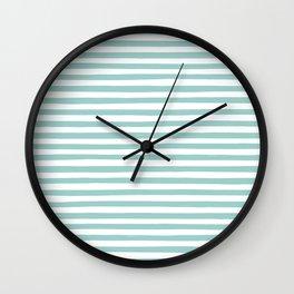 Mint Stripes Wall Clock