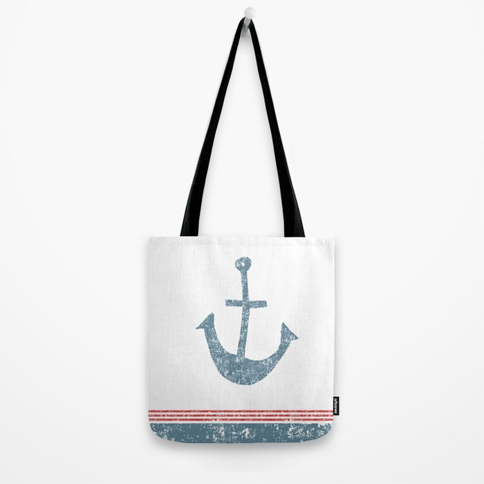 Maritime Design- Nautic Anchor on stripes in blue and red #Society6 Tote Bag
