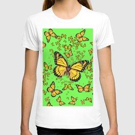 YELLOW BUTTERFLIES GREEN SUMMER ART T-shirt