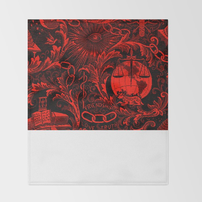 Red And Black Ioof Woven Symbolism Tapestry Throw Blanket By