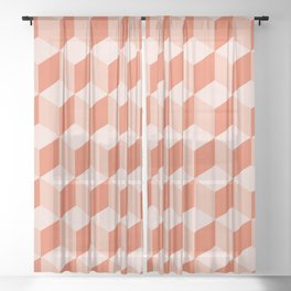Diamond Repeating Pattern In Living Coral Sheer Curtain