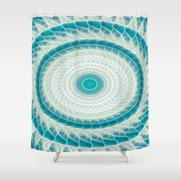Cyan Glow Kaleidoscope 15 Shower Curtain