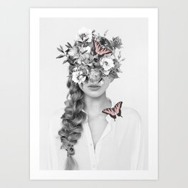 woman with flowers and butterflies 9a Art Print