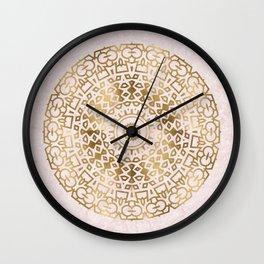 Marble mandala - golden on pink marble Wall Clock