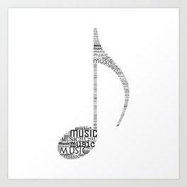 Typography music note Art Print