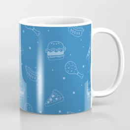 Fast Food Snacks Attack - Pizza Pie Hot Dogs Chicken Wings! on Blue Coffee Mug