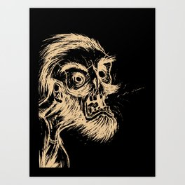 HIPSTER ZOMBIE PRINT -  He was a zombie before it was cool Art Print