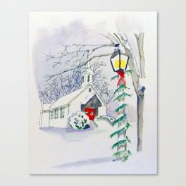 Christmas Church Canvas Print