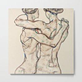 "Egon Schiele ""Naked Girls Embracing"" Metal Print"
