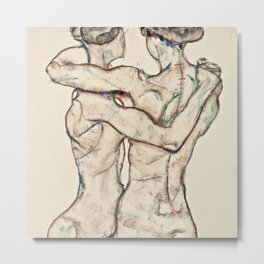 "Egon Schiele ""Naked Girls Embracing"" Metal Print"