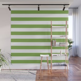 Green and white lines Wall Mural