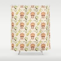 sticker Shower Curtains featuring sticker monster pattern 4 by freshinkstain