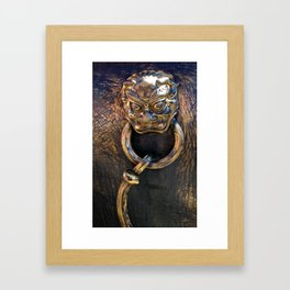 Bronze Lion Detail Framed Art Print