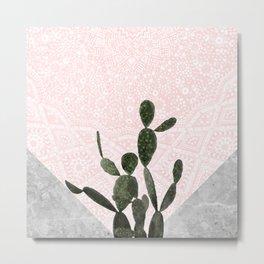 Cactus on Concrete and Pink Persian Mosaic Mandala Wall Metal Print