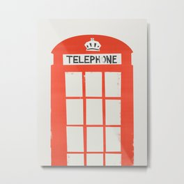 Red London Telephone Box Metal Print