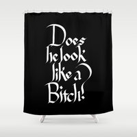 calligraphy Shower Curtains featuring Pulp Calligraphy by Matthew Bartlett