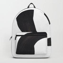 Black And White Minimalist Mid Century Abstract Ink Art Circle Dot Tribal Minimal Symbol Backpack