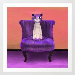 Elegant Cat violet Art Print