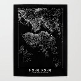 Hong Kong Black Map Poster