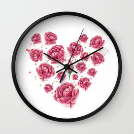 Floral heart of roses Wall Clock