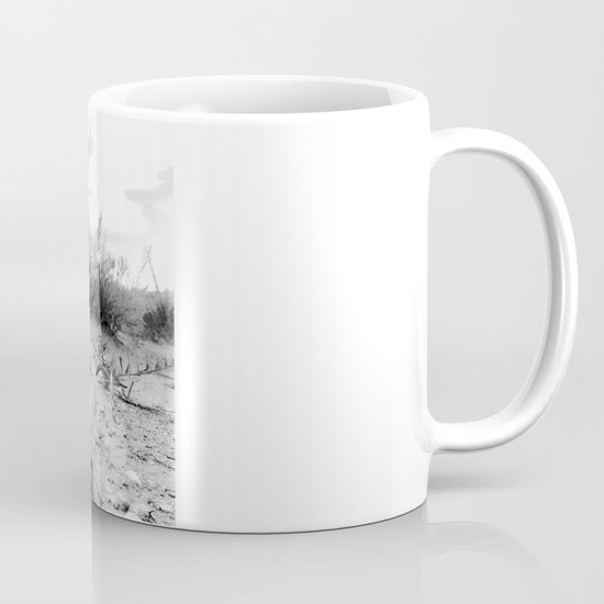 desert skull in black and white photography coffee mug by