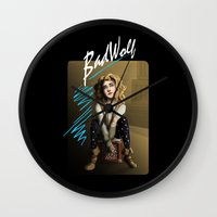 bad wolf Wall Clocks featuring Bad Wolf by mikaelak