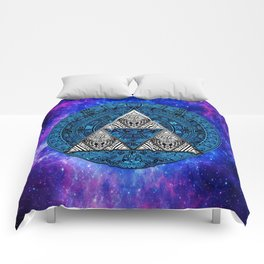 Triforce Circle With Blue Nebula Comforters