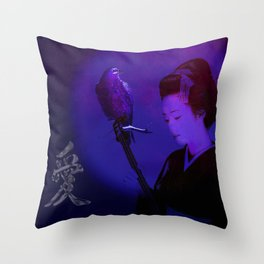 The geisha of Kyôto playing the shamisen for the night crow Throw Pillow