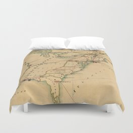 Vintage British Occupation Map of America (1765) Duvet Cover
