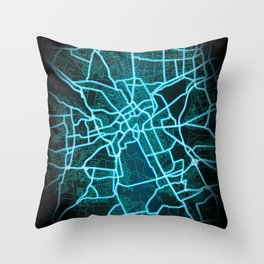 Hanover, Germany, Blue, White, Neon, Glow, City, Map Throw Pillow