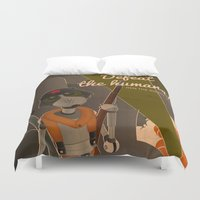 propaganda Duvet Covers featuring Propaganda Series 8 - Defeat the humans! by Alex.Raveland...robot.design.digital.art