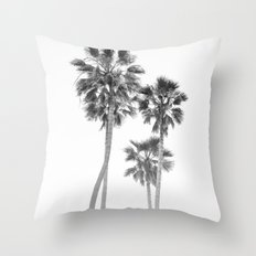 Monochrome California Palms Throw Pillow