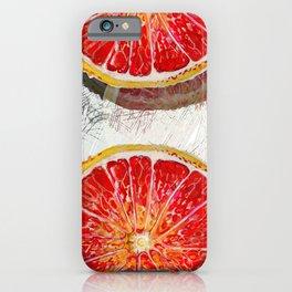 Citrus Grapefruit Mid Century slices color block mural_modern watercolor iPhone Case