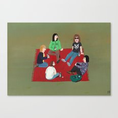 Meeting on a red blanket Canvas Print