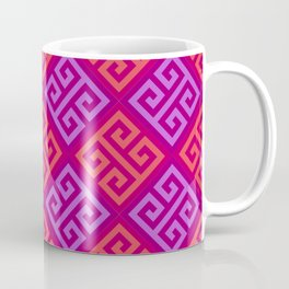 Pink & Purple Ornate Twists Geometric Pattern Coffee Mug