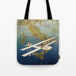 Vintage 1920s Island plane shuttle Italian travel Tote Bag