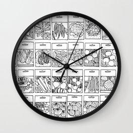 Veggie Seeds Patten - Line Art Wall Clock