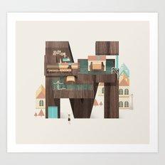 Resort Type - Letter M Art Print
