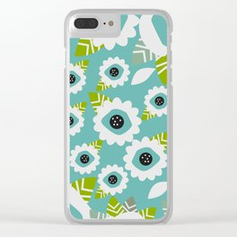 Abstract little flowers in blue Clear iPhone Case