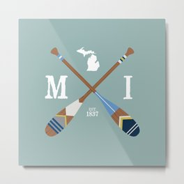 Paddle MI, Michigan Lake Life Painted Oars Metal Print