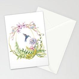 Glittering Golden Floral Hummingbird Terrarium Stationery Cards