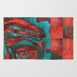 Abstract Red and Teal Snack on Leather Texture Rug