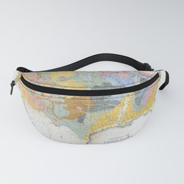 1874 Geological Map of the United States Fanny Pack